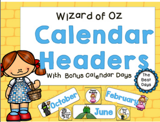 Wizard of Oz Calendar Headers