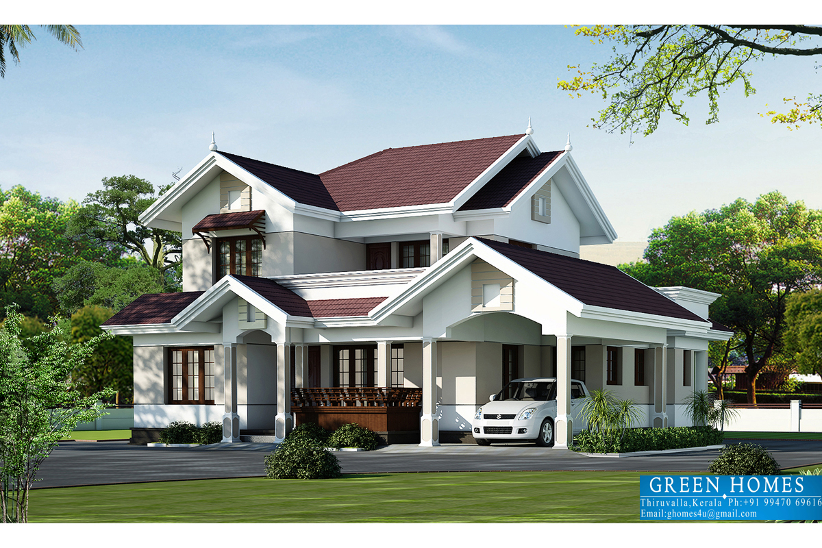 Green homes beautiful villa elevation in 2000 Home design house plans
