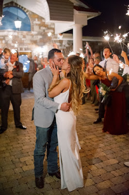bride and groom kissing during sparklers