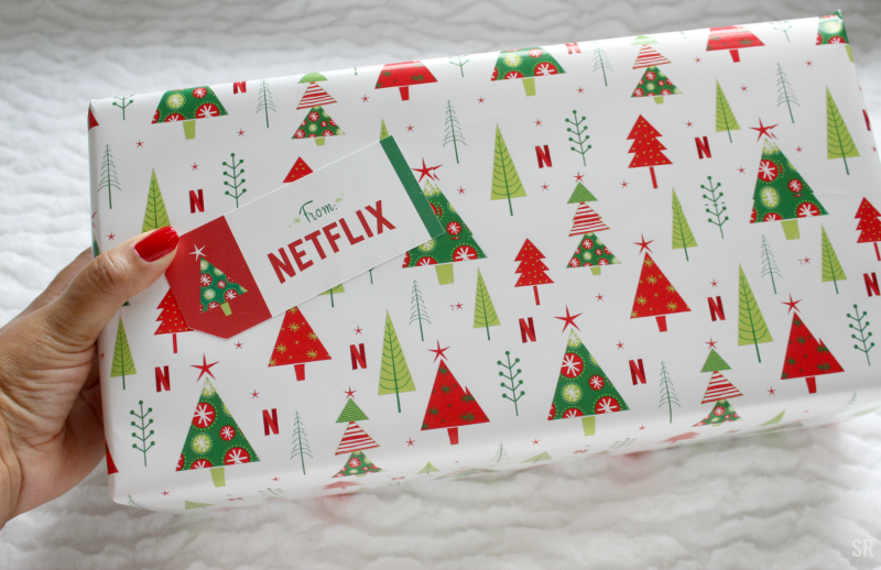 Christmas present with Netflix wrapping paper