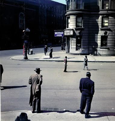 color photograph of a Stickball on St. Nicholas Avenue, East Harlem, 1947