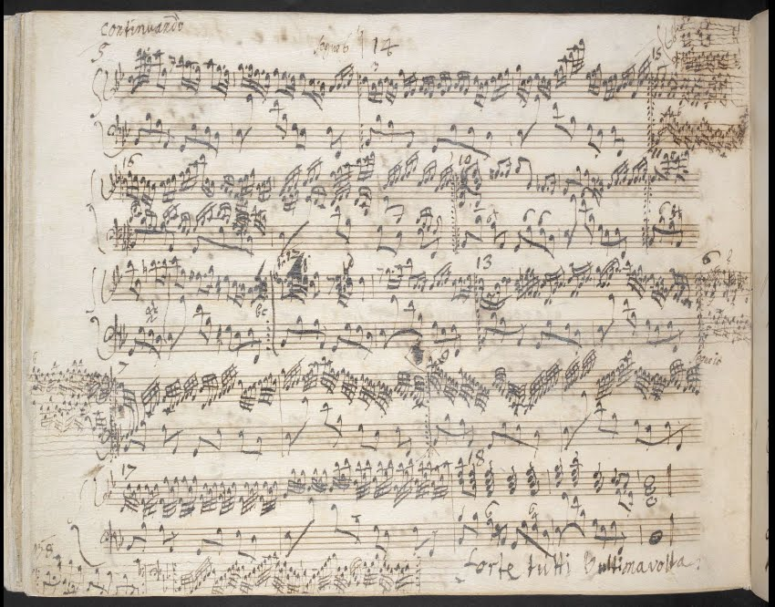 A page containing the last thirteen of the two-bar variations that make up the second movement of Handel's g minor organ concerto, opus seven number five.  This page of Handel's autograph has sections added in the margins after the main text was completed, and the two-bar units have been numbered to indicate the ultimate intended ordering.