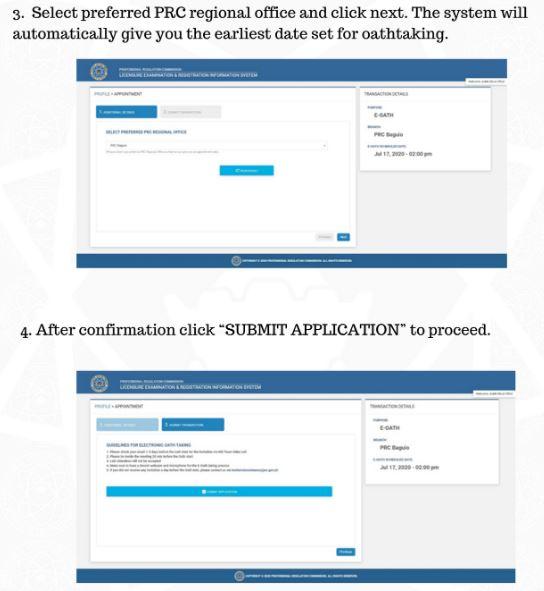 PRC online oathtaking (e-oath) application system