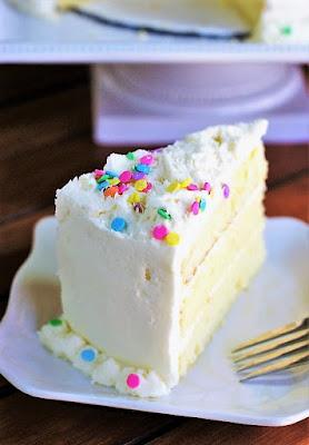 Slice of White Chocolate Birthday Cake with White Chocolate Frosting Image