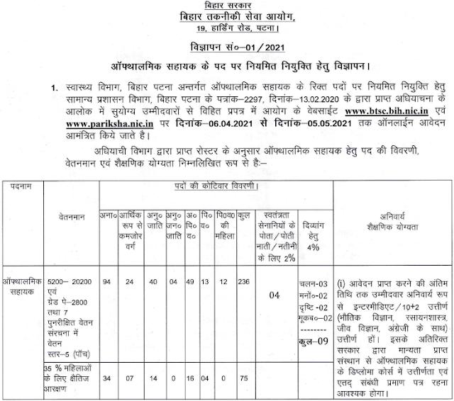 Bihar BTSC Ophthalmic Assistant Recruitment 2021 Apply Online