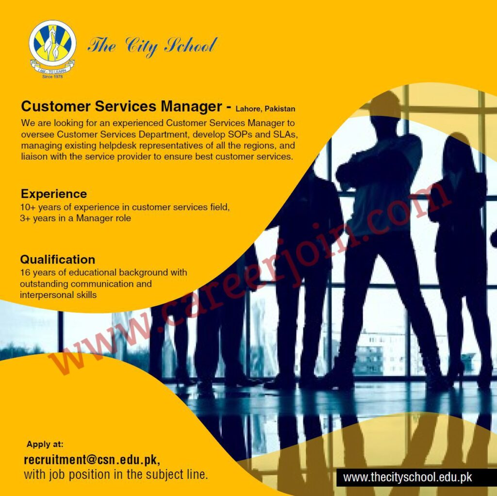 The City School Jobs Customer Services Manager 2021