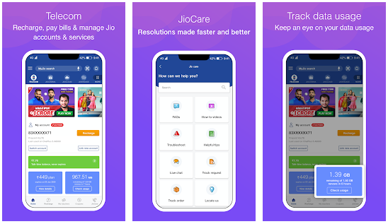 MyJio app for PC features