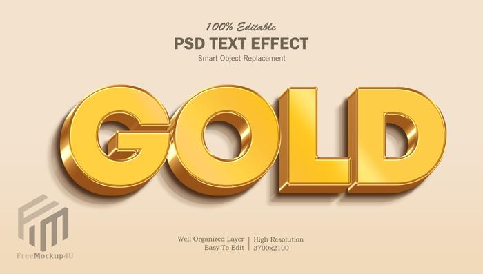 3D Gold Editable Text Effect Psd Mockup