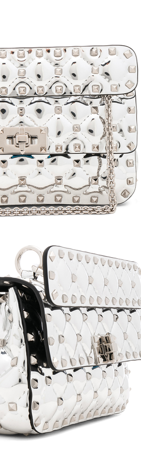 VALENTINO  Small Metallic Quilted Rockstud Spike Shoulder Bag