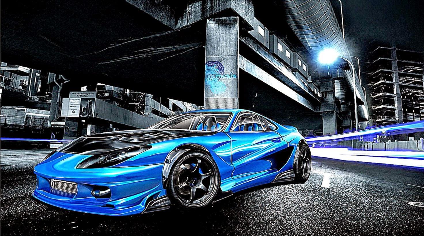 3D Car Blue Wallpaper