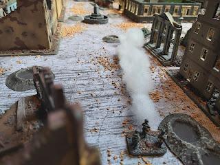 A German flamethrower destroys the Soviet armour