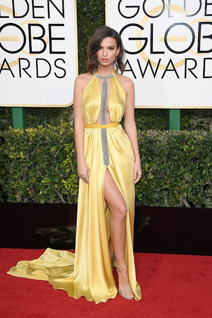 Emily Ratajkowski in yellow dress by Reem Acra