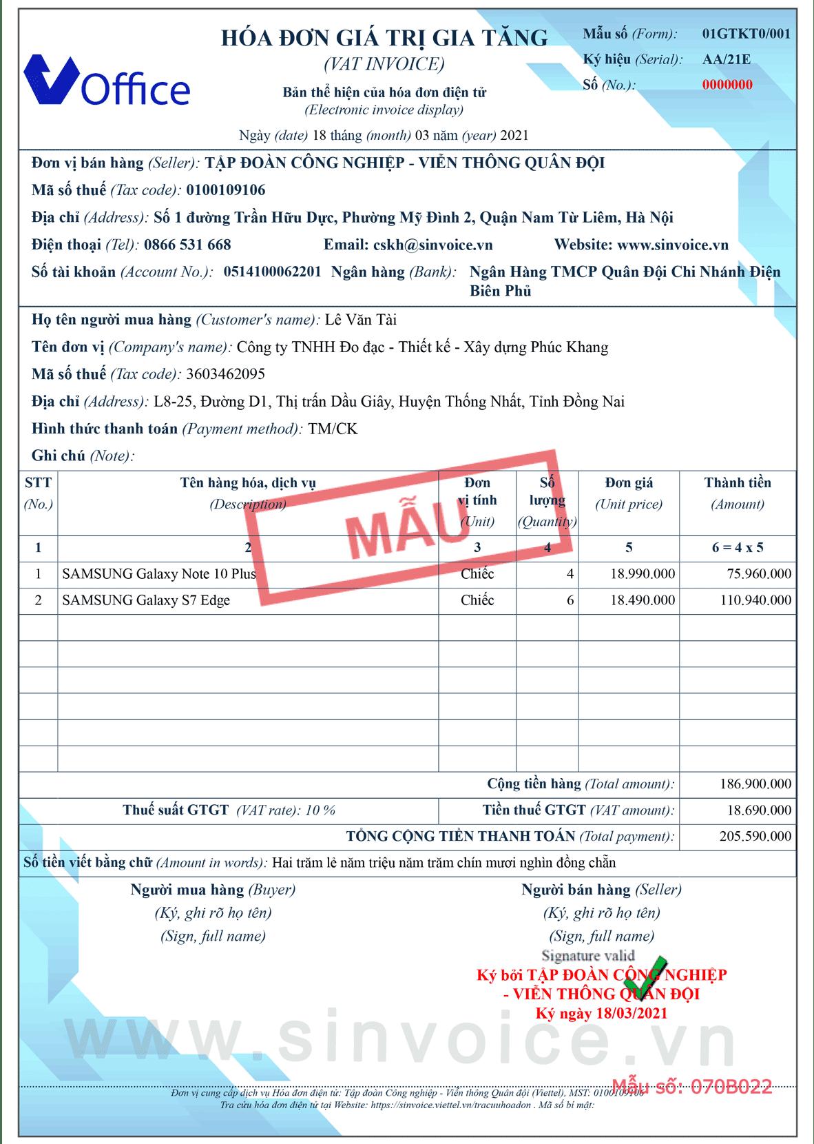 Mẫu hóa đơn điện tử số 070B022