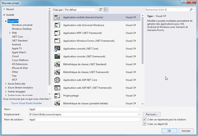 New Project Xamarin Forms