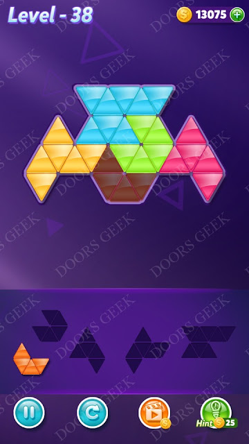 Block! Triangle Puzzle 5 Mania Level 38 Solution, Cheats, Walkthrough for Android, iPhone, iPad and iPod