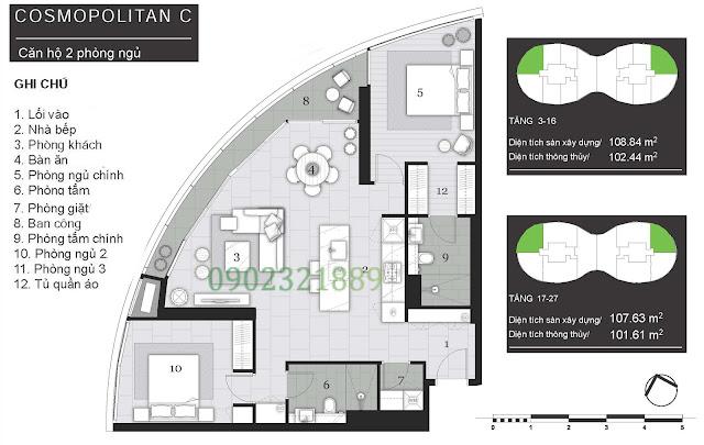 Tháp Pormenade căn hộ City Garden - 2 Phòng ngủ C