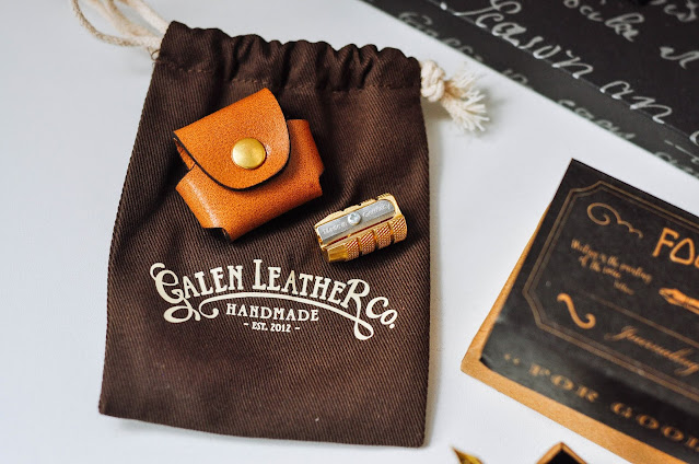 Review Galen Leather Co Handmade Leather Vintage Stationery sharpener case