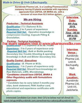 Aurabindo Pharmaceuticals - Walk-in interview for multiple positions on 4th August, 2019