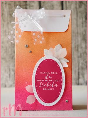Stampin' Up! rosa Mädchen Kulmbach: Stamp A(r)ttack Blog Hop: Materialbingo - Geschenktüte im Ombre Look mit Liebevolle Details, Stickrahmen und Blätterzweig