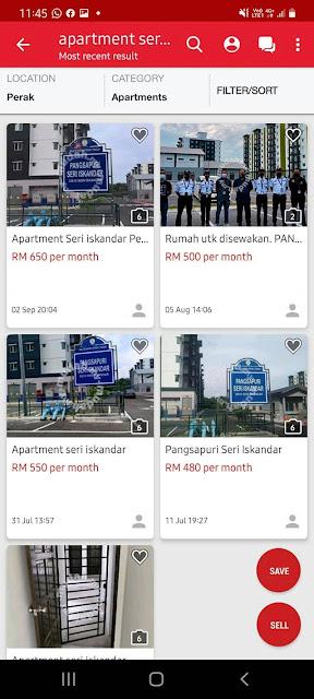 Kadar Sewa Apartment Seri Iskandar