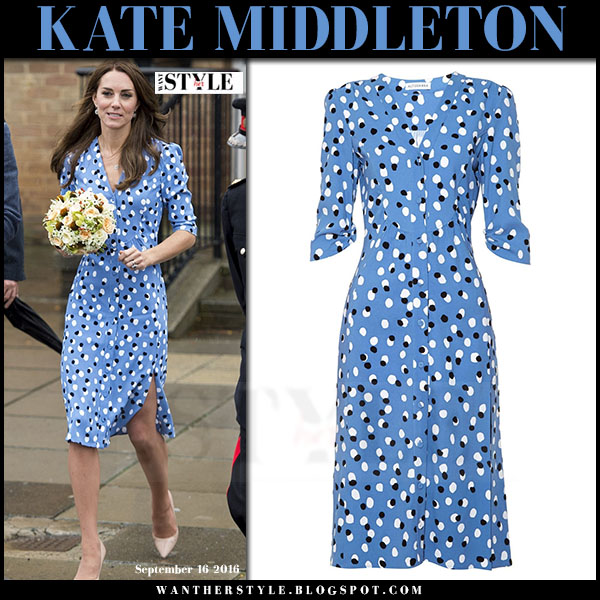 Kate Middleton in blue polka dot midi dress altuzarra aimee what she wore
