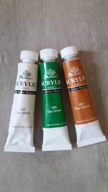 paznokcie-blog-inspiracje-farbki-akrylowe-phoenix-acrylic-bialy-zinc-white-zielony-sap-green-brazowy-raw-sienna-12-ml