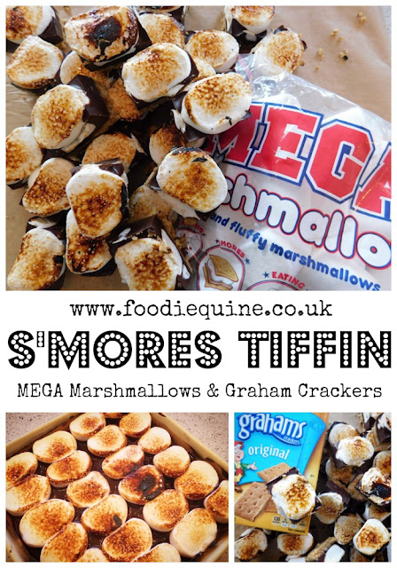 www.foodiequine.co.uk The prefect no bake traybake to take to Scout - or any other Camp. Using MEGA Marshmallows, Chocolate at Graham Crackers S'mores Tiffin is a clever twist on a classic which will leave everyone wanting some more. Any recipe with 'blow torch' in the ingredients has got to be fun?!