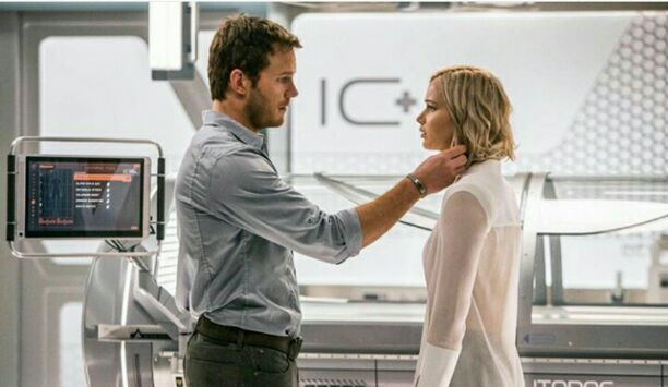 Passengers movie scene with Chris Pratt and Jennifer Lawrence