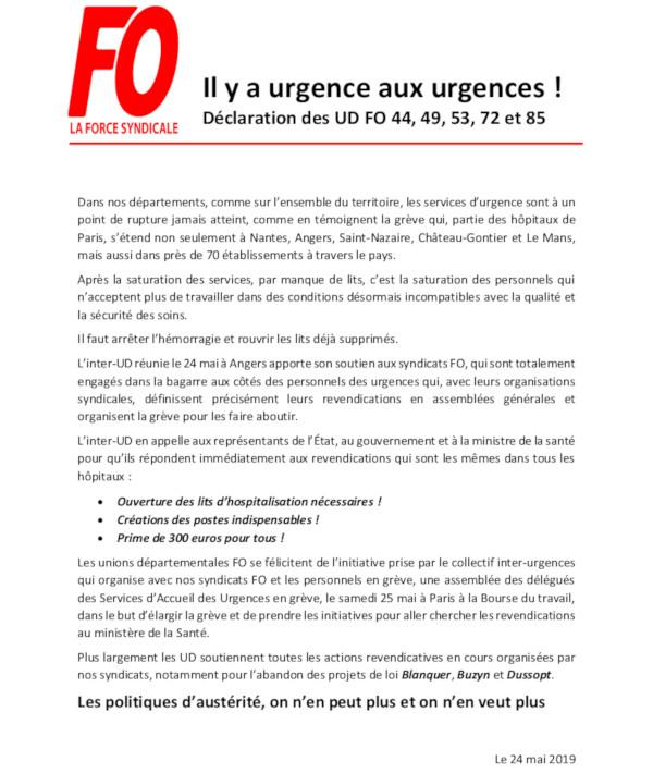 LES UD-FO SOUTIENNENT LE MOUVEMENT DE GRÈVE DANS LES URGENCES