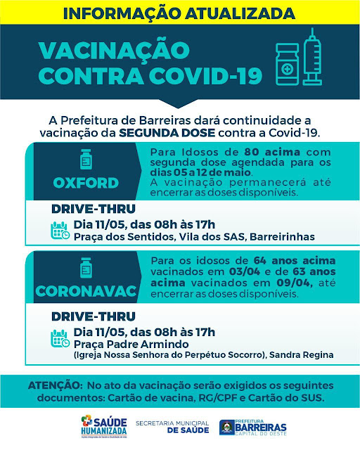 Chega em Barreiras novo Lote  de vacinas contra a Covid 19