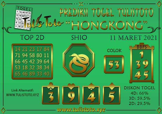 Prediksi Togel HONGKONG TULISTOTO 11 MARET 2021