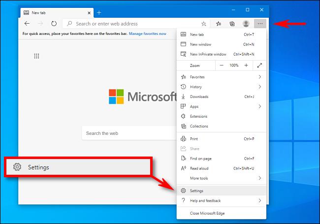 انقر فوق الإعدادات في Microsoft Edge