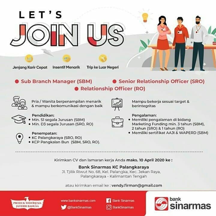 Lowongan Kerja Pt Bank Sinarmas Lowongan Kerja Kalimantan Tengah