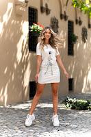 Rochie  de zi Sarah alba scurta