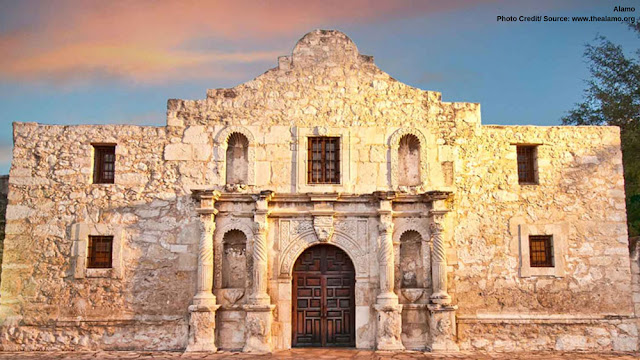 front door of the Alamo in the sunset