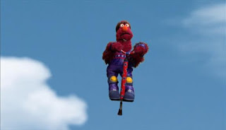 Telly bounces wildly and boings high up into the sky. Sesame Street Episode 4421, The Pogo Games, Season 44.