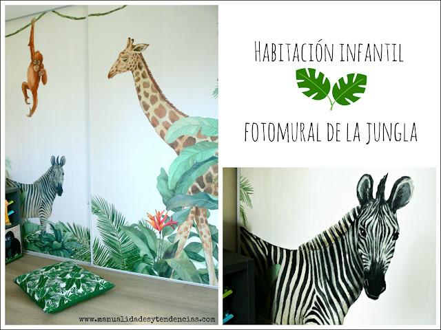 Fotomural de la jungla para dormitorio infantil