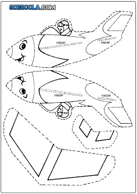 Molde de avião para imprimir, colorir e montar