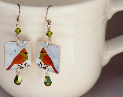 Cardinal earrings by BayMoonDesign