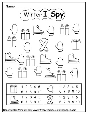 winter icons i spy coloring pages free printable for kids free preschool coloring pages for Christmas holidays color and count numbers from 1 to 10