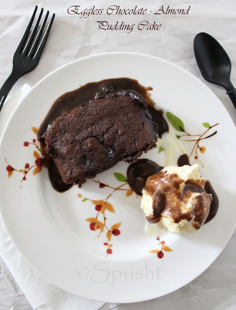 Eggless and Vegan Chocolate Almond Pudding Cake