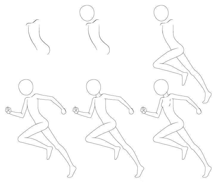 Anime menjalankan pose menggambar langkah demi langkah