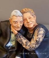 cake topper anniversario statuine nonni ricordo mini ritratto genitori anziani orme magiche