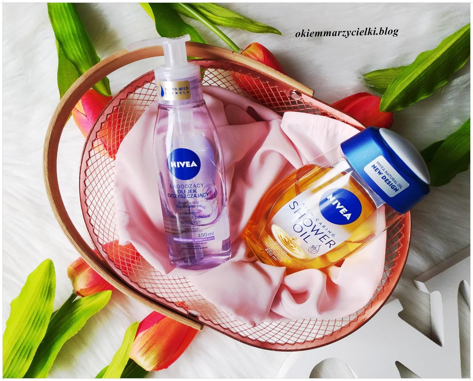 Łagodzący olejek oczyszczający z naturalnym olejkiem z pestek winogron (cera wrażliwa) & Olejek pod prysznic, Nivea- recenzja #128  Olejkowa pielęgnacja z marką Nivea :)