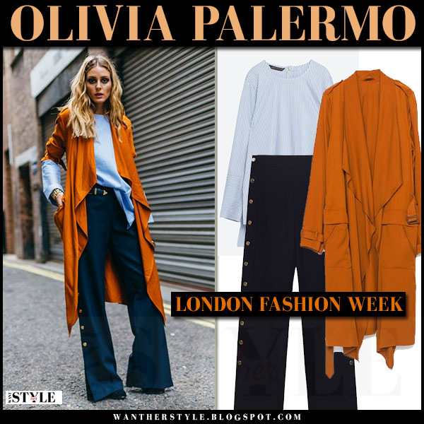 Olivia Palermo in orange mustard waterfall trench coat, blue blouse and navy blue pants zara total look london fashion week what she wore