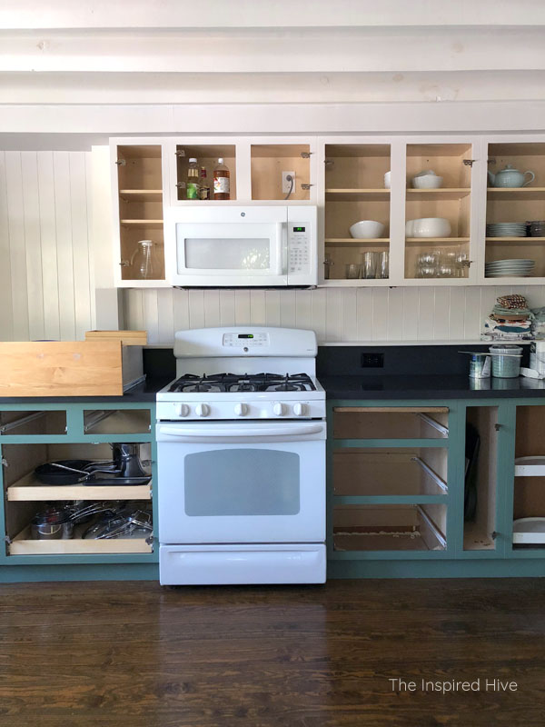 One Room Challenge kitchen progress- green lower cabinets