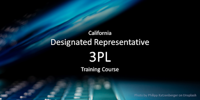 3PL - California Designated Representative Training Course - for third-party logistics providers. Image of a glowing blue laptop in the darkness.