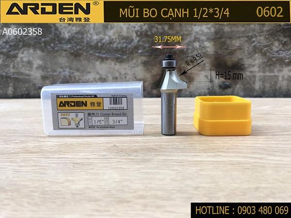 Mũi bo cạnh Arden 1/2x3/4 Mã 0602 R9.52