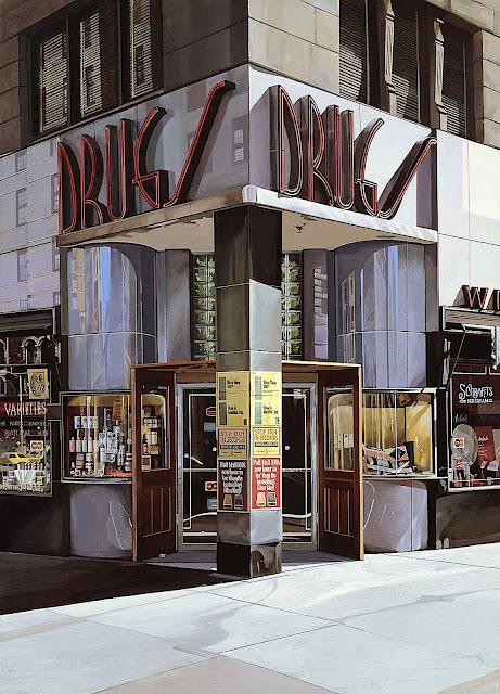 a Richard Estes realism painting, corner drug store