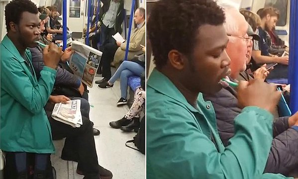 nigerian man brushing teeth london train